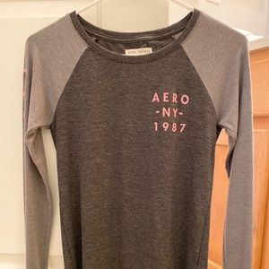 pink and gray long sleeve aeropostale shirt